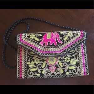 Indian embroidered envelope clutch or shoulder bag